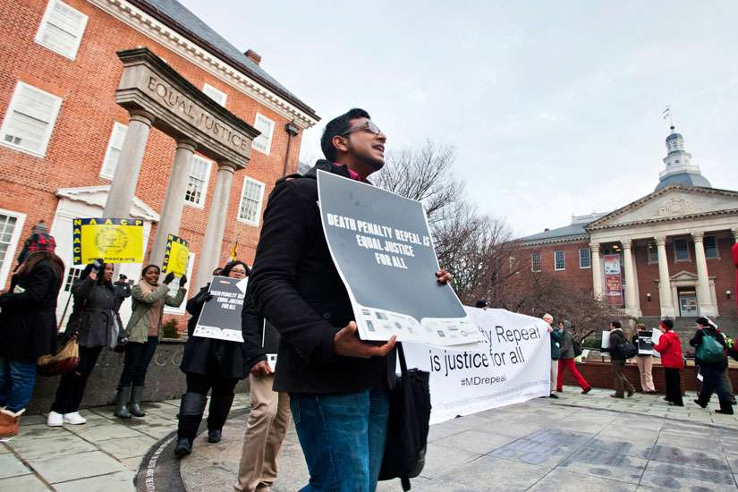 A man joins in chanting for the repeal of the death penalty in Maryland in January 2013. Maryland's death penalty was abolished in the same year May 2, signed into law by Gov. Martin O'Malley.