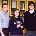 Blessed Trinity Secondary School's science department chair Michael Weber (left) and aspiring astronaut Tomaz Rinne stand with Julia Dunder, holding a RaDI-N2 bubble device