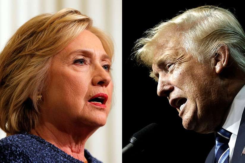 In a combination photo, U.S. Democratic presidential nominee Hillary Clinton is seen Sept. 9 and U.S Republican presidential nominee Donald Trump is seen Sept. 14.