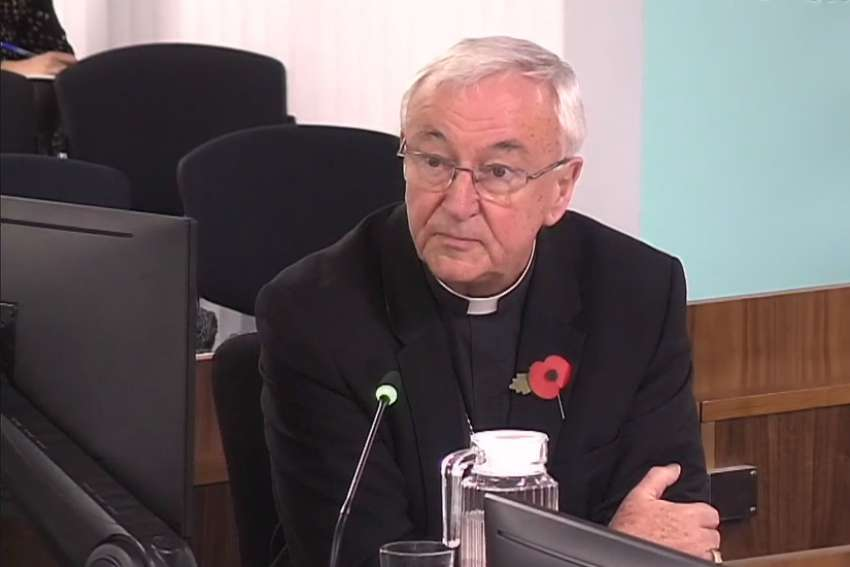 Cardinal Vincent Nichols of Westminster is seen in a screen grab talking to the Independent Inquiry into Child Sex Abuse Nov. 7, 2019. He said the English and Welsh bishops would reject any attempts to compel priests to report Catholics who confess to committing sexual abuse.