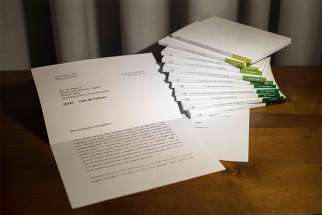 An image showing a letter from retired Pope Benedict XVI to Msgr. Dario Vigano, prefect of the Vatican Secretariat for Communication, is seen in this photo released by the Vatican March 12. On March 14 the Vatican admitted that it blurred the last lines in the image of the letter.