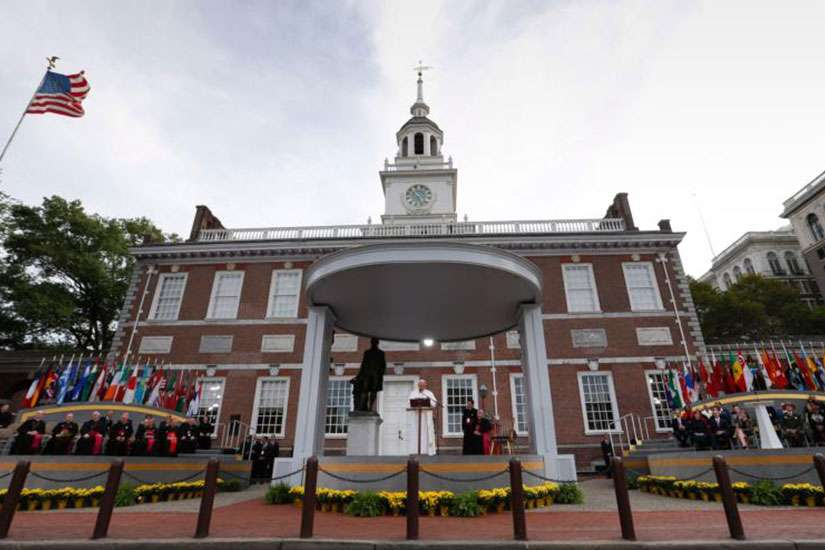 Pope Francis delivers an address from Independence Hall in Philadelphia Sept. 26.
