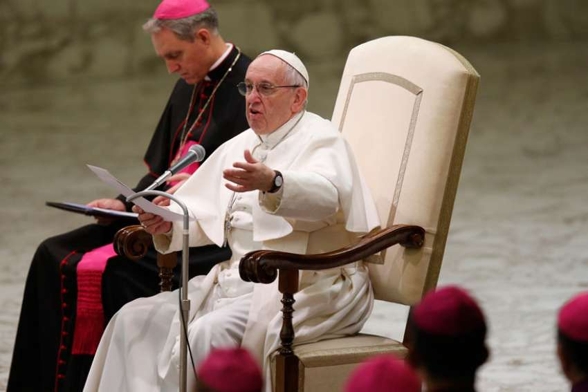 Pope Francis speaks during his general audience in Paul VI hall at the Vatican Jan. 25.