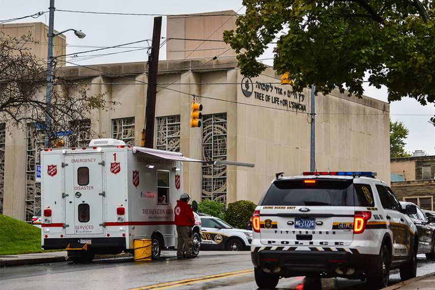 The Tree of Life Synagogue, the site of a deadly shooting, is pictured in Pittsburgh Oct. 27. Pope Francis at his Sunday Angelus prayed for those affected by a shooting attack inside the Pittsburgh synagogue.