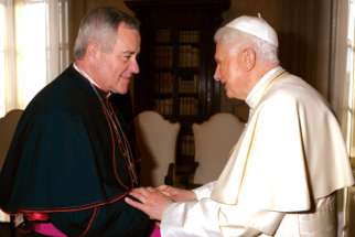 St. Louis Archbishop Robert Carlson meeting with Pope Benedict in 2012.