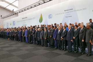 Heads of delegations at the 2015 United Nations Climate Change Conference (COP21), which led to the signing of the Paris Agreement, Nov. 30, 2015.