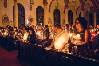 The light of Christ illuminates the darkness at the Easter Vigil in anticipation of a new dawn.