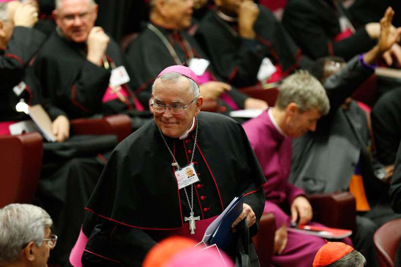Archbishop Charles J. Chaput of Philadelphia arrives for the opening session of the Synod of Bishops on the family at the Vatican Oct. 5.