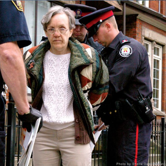 Linda Gibbons has been arrested multiple times for violating a temporary injunction that prevents her from protesting within 150 metres of Toronto abortion clinics.
