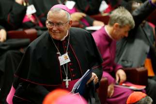 Archbishop Charles J. Chaput of Philadelphia arrives for the opening session of the Synod of Bishops on the family at the Vatican Oct. 5, 2015.