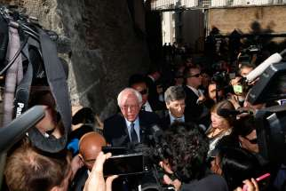Sen. Bernie Sanders, D-Vt., a U.S. presidential candidate, speaks to media outside the Vatican after delivering an address at a conference on Catholic social teaching April 15.