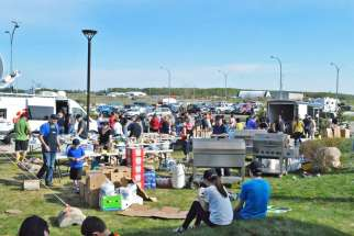 Donated items for evacuees of Fort McMurray set up outside Lac La Biche's evacuation centre on May 7.