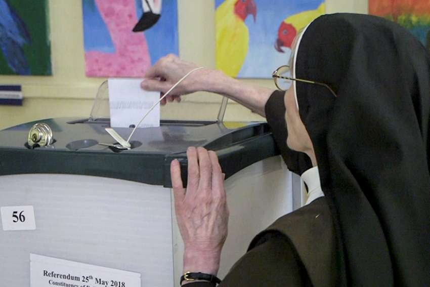 A woman religious casts her ballot May 25 in Dublin as Ireland holds a referendum on its law on abortion. Voters went to the polls May 25 to decide whether to liberalize the country's abortion laws.