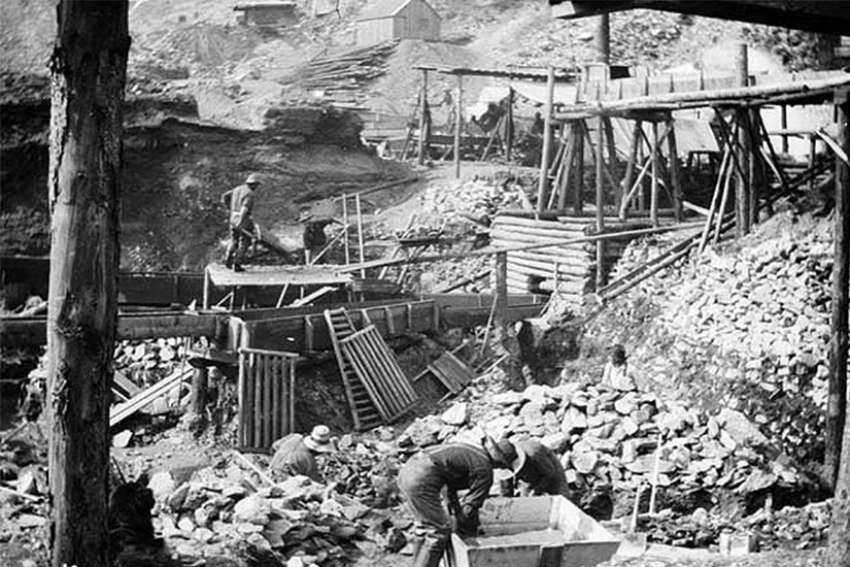 A mining operation during the Klondike Gold Rush.