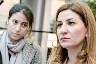 Vian Dakhil, right, the only Yazidi Kurd member of Iraq's Parliament, will not likely be able to accept her Lantos Human Rights Prize in Washington D.C. in person due to U.S. President Donald Trump's recently imposed travel ban.