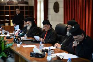 Catholic and Orthodox patriarchs meet in Bkerke, Lebanon, Jan. 27 to address the crises in the Middle East. Pictured from left to right are Melkite Catholic Patriarch Gregoire III Laham; Greek Orthodox Patriarch John X of Antioch; Lebanese Cardinal Becha ra Rai, Maronite patriarch; Syriac Orthodox Patriarch Ignatius Aphrem II; and Syriac Catholic Patriarch Ignace Joseph III Younan.