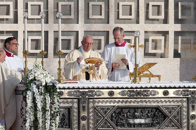 Pope Francis celebrates the Eucharist during Mass at Monza Park near Milan March 25.