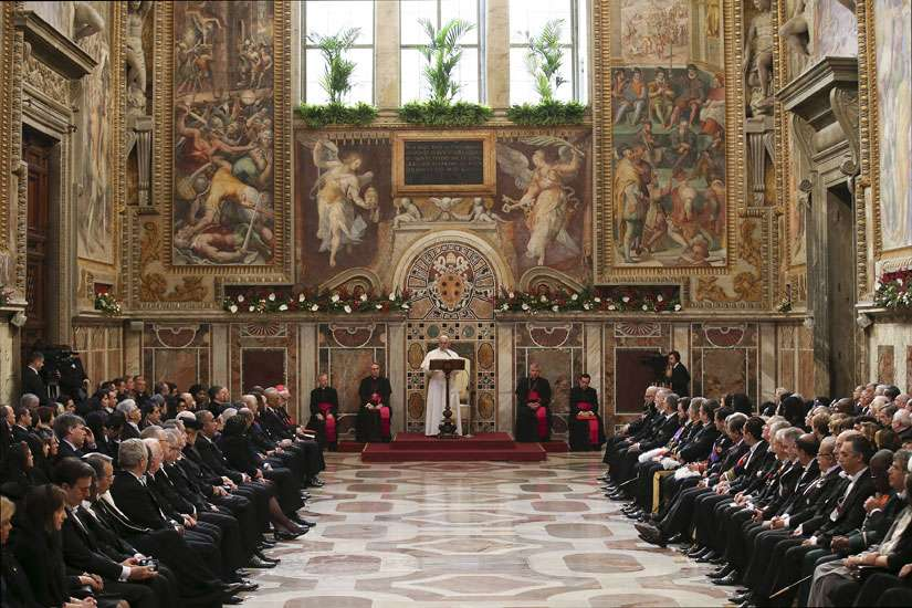 Pope Francis addresses the diplomatic corps at the Vatican Jan.11.