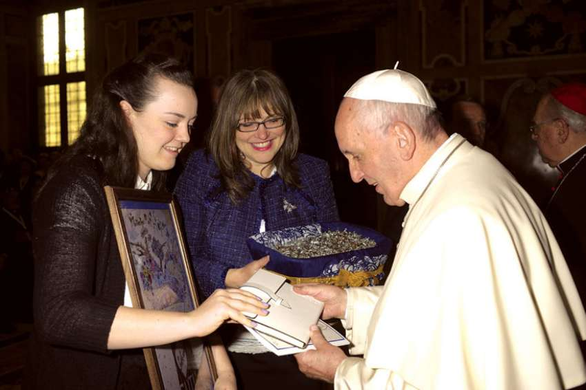 Maggie McLellan, left, and Catherinanne George were among 130 delegates that met Pope Francis during the IV World Congress from Nov. 28-Dec. 2, 2016.