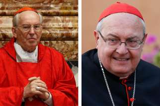 The Vatican announced Jan. 25, 2020, that Pope Francis has approved the election of Italian Cardinal Giovanni Battista Re as dean of the College of Cardinals and of Argentine Cardinal Leonardo Sandri as the subdean. The two cardinals are pictured in a June 7, 2019, and Oct. 16, 2014, combination photo.