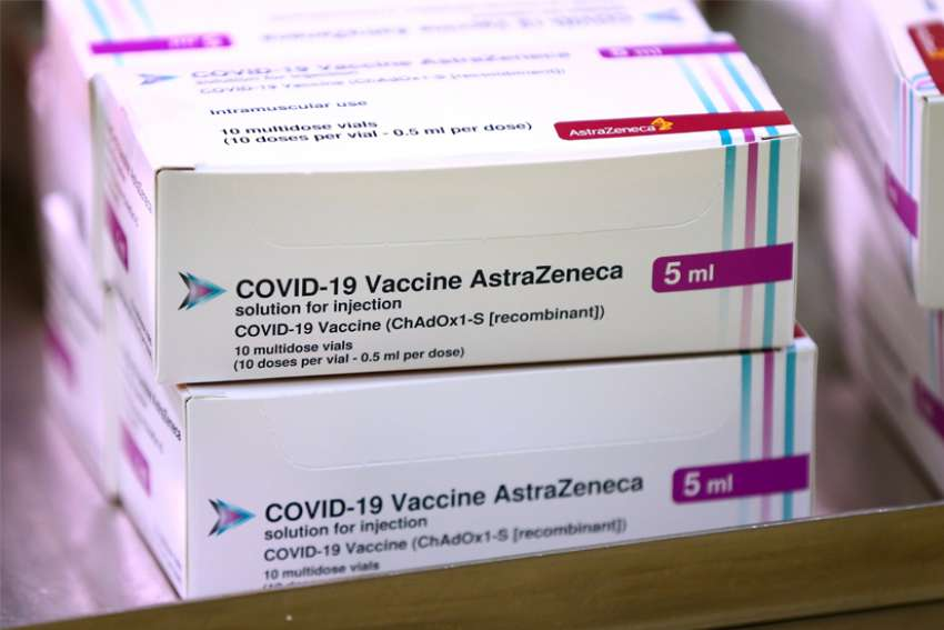 View of the Oxford University/AstraZeneca COVID-19 vaccine boxes at the Princess Royal Hospital in Haywards Heath, England, Jan. 2, 2021.