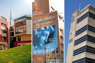 Providence Healthcare (left), St. Michael's Hospital and St. Joseph's Health Centre Toronto will be known as Unity, while individual sites will retain their names.