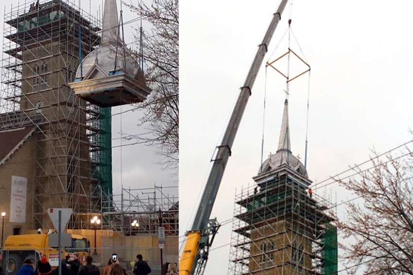 A couple of hundred parishioners and townsfolk turned out to watch as Windsor construction company W.D. Lester used a truck crane to hoist the almost 14,000 kg (30,000 lbs.) steeple into place in less than a half hour.