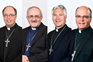 Archbishop Valéry Vienneau, Auxiliary Bishop Denis Grondin, Archbishop Murray Chatlain and Auxiliary Bishop Daniel Miehm.