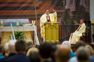 Cardinal Gerald Cyprien Lacroix of Quebec addresses attendees of the 2017 Catholic Media Conference in Quebec City during a June 21 Mass at the Cathedral-Basilica of Notre-Dame of Quebec in Quebec City.
