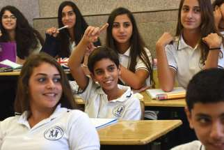 Students attend class in Nazareth Sisters school Sept. 8 in Haifa, Israel. When Israel's Ministry of Education ranked its top 277 schools, eight of the nation's 47 Christian schools were on the list.