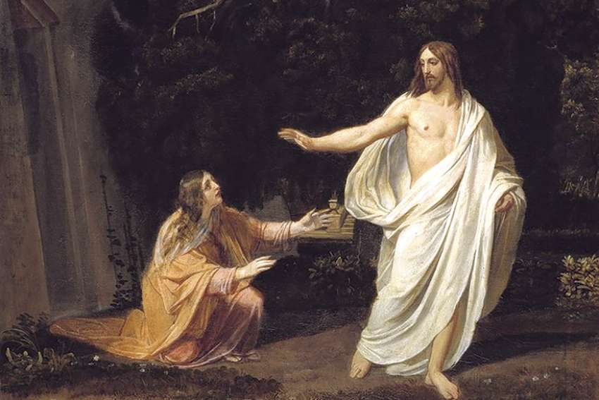 Christ's appearance to Mary Magdalene after the Resurrection, as portrayed by artist Alexander Ivanov, circa 1834.