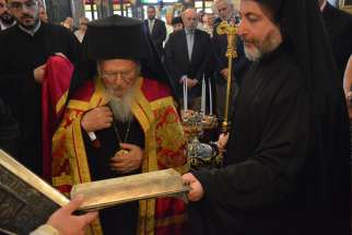 Ecumenical Patriarch Bartholomew of Constantinople prays before a reliquary containing bone shards that are believed to belong to St. Peter June 30, 2019, in Istanbul, Turkey. Pope Francis gave the reliquary, commissioned by St. Paul VI, to the patriarch.