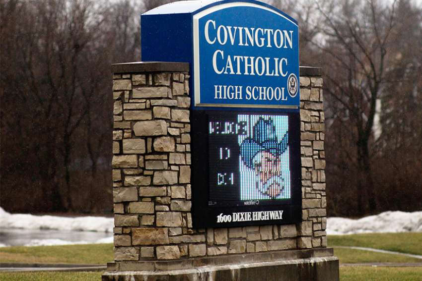 A marquee for Covington Catholic High School is seen Jan. 23 in Park Hills, Ky.