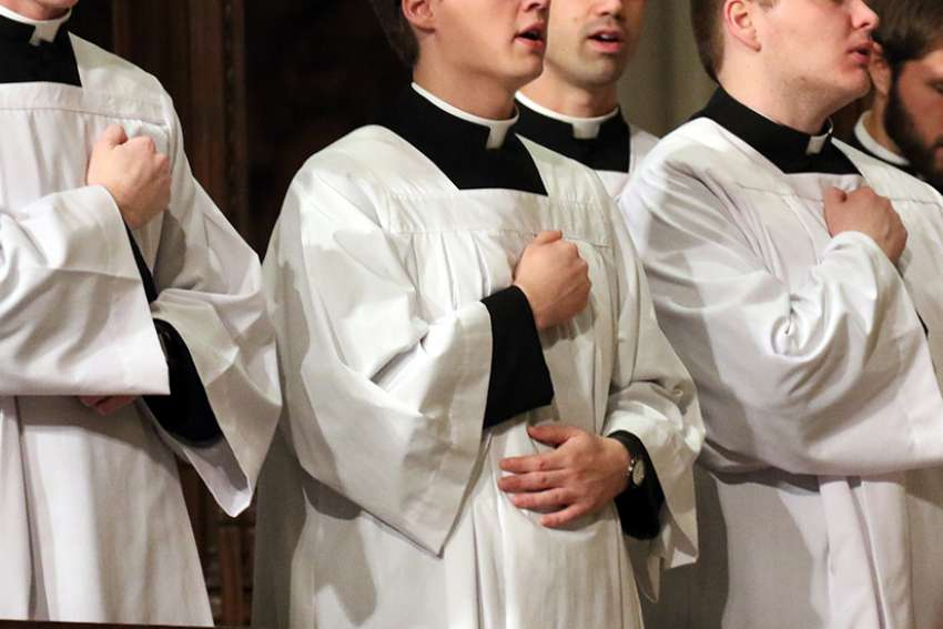 Seminarians pray during a Mass at St. Patrick's Cathedral in New York City, 2016.