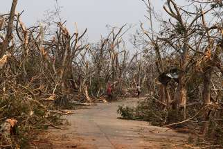 People walk past damaged trees May 4, 2019, following Cyclone Fani in Puri, India. The powerful cyclone ripped through eastern India and sideswiped Bangladesh, May 3, leaving a trail of destruction and more than 30 deaths.