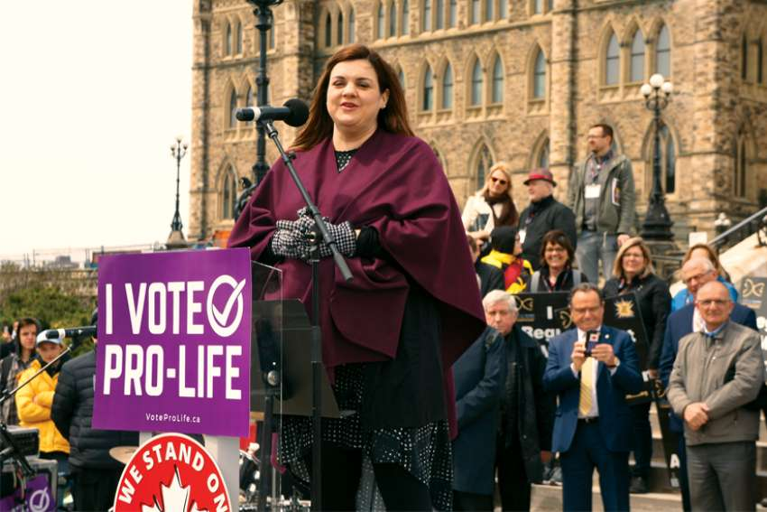 Abby Johnson appeared at the National March for Life in Ottawa on May 9.