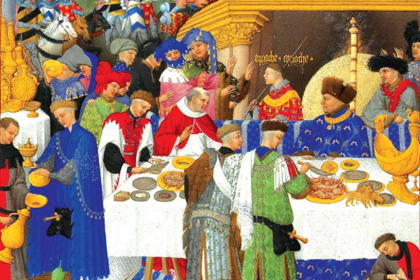 The 12 days of Christmas in medieval times was marked by much feasting, as this miniature portrait shows, illustrated by the Limbourg brothers in the 15th century.