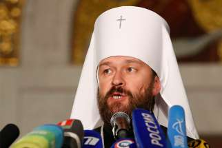 Metropolitan Hilarion of Volokolamsk, head of external relations for the Russian Orthodox Church, speaks during an Oct. 15 news conference in Minsk, Belarus. He announced the Russian Orthodox Church was severing ties with the Ecumenical Patriarchate of Constantinople.