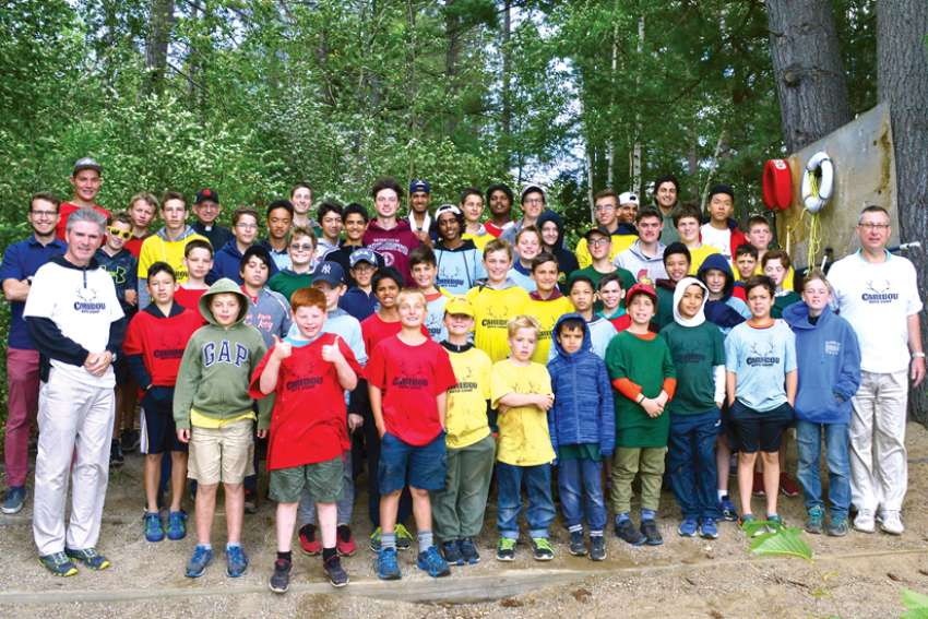 Boys at Camp Caribou participated in sports, hiking and swimming while attending Mass and spiritual reflection seminars.