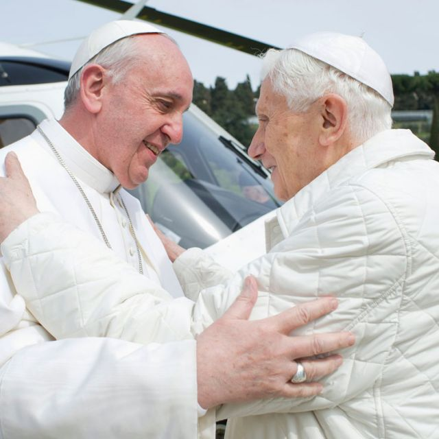 Pope Francis embraces emeritus Pope Benedict XVI at the papal summer residence in Castel Gandolfo, Italy, March 23. Pope Francis travelled by helicopter from the Vatican to Castel Gandolfo for a private meeting with the retired pontiff.