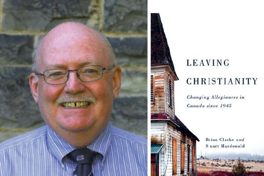 "Stuart Macdonald and the cover of his co-authored book, ""Leaving Christianity: Changing allegiances in Canada"""