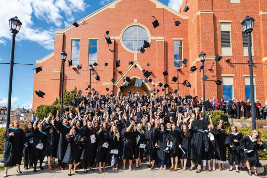 The Class of 2019 celebrates at St. Mary's University in Calgary.
