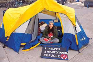 Nivin Dinkha lived in a tent at the campus of McMaster University in Hamilton to raise money and awareness for the plight of refugees in Iraq and Syria.