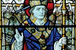 A stained glass window of St. Thomas Becket at St. Alban's Cathedral in St. Albans, England.
