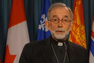 CCCB president Bishop Lionel Gendron of Saint-Jean-Longueuil at a news conference on Parliament Hill April 18.