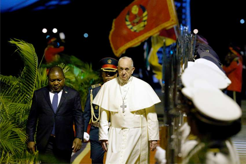 Pope Francis arrives at the airport in Maputo, Mozambique, Sept. 4, 2019. The pope will also visit Madagascar and Mauritius on his sixth foreign trip of 2019.
