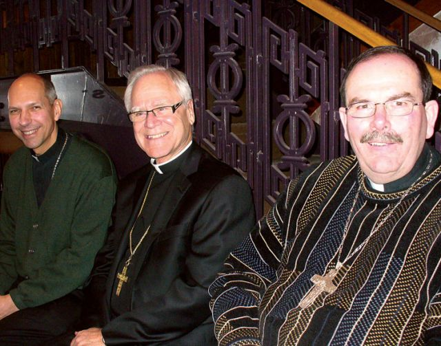Bishop Donald Bolen, Archbishop James Weisgerber and Archbishop Albert LeGatt at a Theology on Tap in Winnipeg.