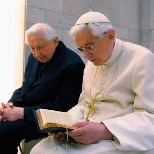Pope Benedict XVI prays with his brother, Msgr. Georg Ratzinger in his private chapel at the Vatican April 14.