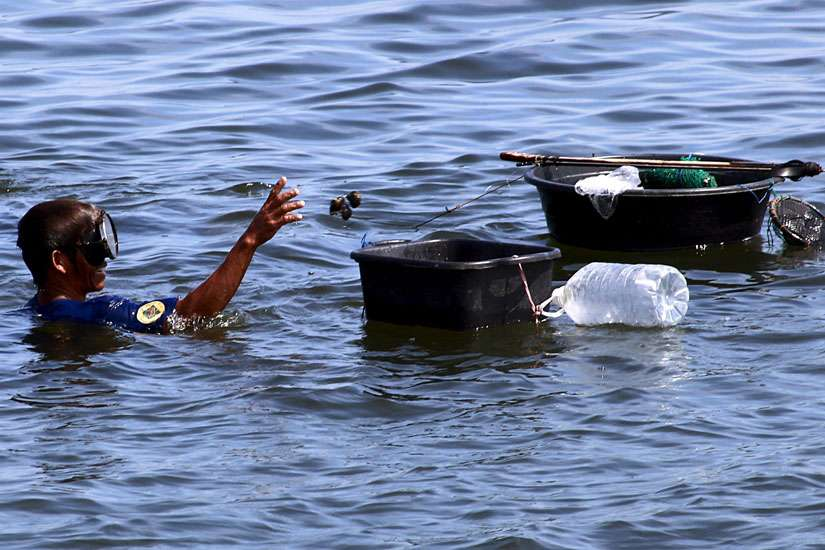 "A fisherman collects sea shells in Manila Bay at Cavite City, near Manila, Philippines, July 23. Philippine environmentalists and advocates for farmers, fishes and poor Filipinos lauded the recently released encyclical, ""Laudato Si',"" as affirmation"" for their causes."
