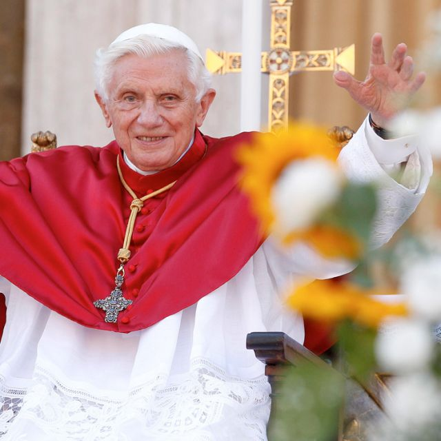 Pope Benedict XVI waves as he arrives to celebrate Mass outside the Cathedral of St. Peter the Apostle in Frascati, Italy, July 15. The city is located about five miles from the papal summer villa at Castel Gandolfo.
